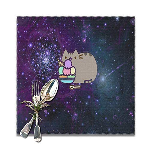 IUJL Tischsets für Küchentisch Set mit 6 Space Cats auf Pinterest 12-Zoll-Quadrat Hitzebeständige Tischsets Waschbares Tuch Tischset Esstisch Dekor Kinder Kaffeetasse Untersetzer