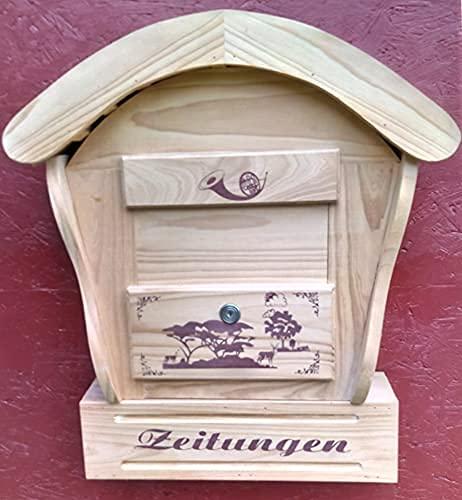 DARLUX Runddach Holzbriefkasten Postkasten mit Zeitungsfach Natur