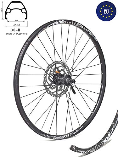 Crosser Vorderrad Laufrad X-11, Nabe Shimano AHBTX505B Zentralverriegelung, Nur für Scheibenbremse, für alle Mountainbikes und Langlauf Fahrrad,Schwarz (27.5