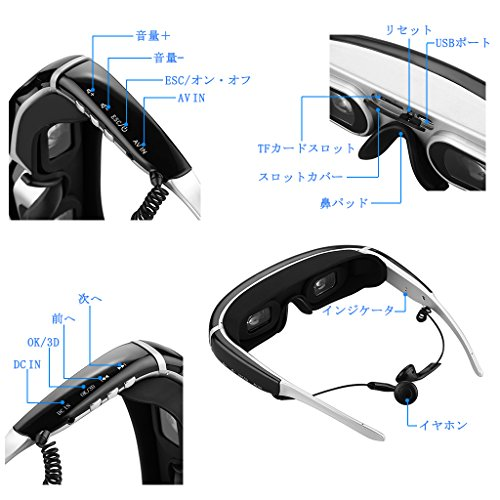 "『Excelvan 3Dヘッドマウントディスプレイ 98""仮想スクリーン TV/PS3/PS4/WII対応 IVS-2』の4枚目の画像"