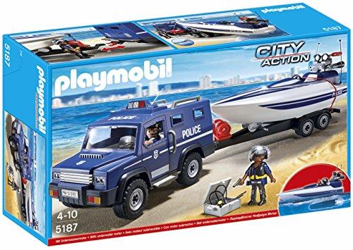 Playmobil Policía: Coche de con lancha