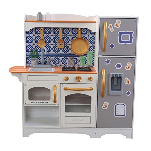 KidKraft Mosaic Magnetic Play Kitchen with Refrigerator and Magnets, Sink, Working Ice Maker, 9-Piece Accessories and EZ Kraft Assembly, Gift for Ages 3+