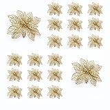 10/20 Pezzi Glitter Argento Fiori di Natale Tessuto Artificiale Cavo Fiori di Simulazione Decorazioni Dell'albero di Natale per Nozze Festa Festival Arredamento Ornamento (20pz Oro)