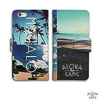 iPhone6s 6 ケース 手帳型 Palm tree sunset Hawaiian ハワイアン ビューティフル ビュー レザー (E)