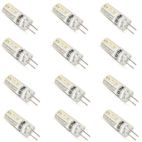 12 Stück G4 LED Leuchtmittel Glühbirne 1.5 Watt DC 12V G4 24 * 3014-SMD LED Lampe, Ersatzteil für 10W Halogen Lampe, Warmweiß