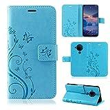 betterfon Nokia 5.4 Hülle - Handyhülle Nokia 5.4 Schutzhülle Klapphülle mit Kartenfächer für Nokia 5.4 Blume Blau