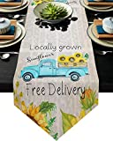 Ruian Store Farm Blue Truck with Blooming Sunflowers Table Runner Dresser Scarves, Old Newspaper Kitchen Linen Burlap Table Runners for Home Dining, Holiday Parties, Wedding, Banquet Decor 13x70inch