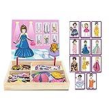 WFF Spielzeug Dress Up Spielzeug Holzmagnetpuzzle Kinder Lernspielzeug 2-3-4-6-7-jährigen Jungen und Mädchen Spielzeug (Color : Princess Dress up)