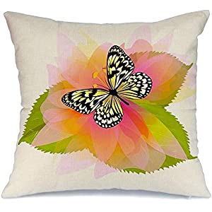 Decoration Linen Decorative Square Throw Pillow Cover Cushion Cover Beautiful Butterfly On Flower Raster August Sympathy Nature Party Motherx27s Retirement Abstract Home Decor for Party 20×20 Inch
