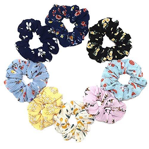 Haarelastiekjes voor meisjes, 8 stuks, bonte chiffon crunchies, haarband, elastisch, voor paardenstaart, haarband, bloemen, crèunchies stof, haarstrikjes, paardenstaart voor vrouwen