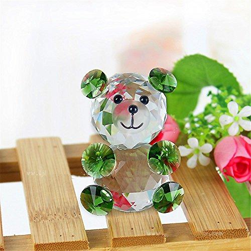 qianyue Animali di Cristallo di Vetro Teddy Bear Figurine Miniature Christmas Celebrity Minifigures Kids Office Ornaments Toy Gift (Verde)