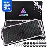 Aujen Bling License Plate Frames 2 Pack, License Plate Frame for Women, Obstruction-Free Rhinestone License Plate Frames, Silicone License Plate Covers with Side-Opening Design Colorful