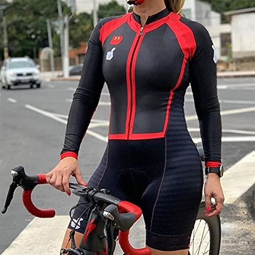 Traje de ciclismo Mujeres, camiseta de ciclismo de secado rápido de manga larga con gel, triadlón de la profesión de mujeres. (Color : B, Size : Large)