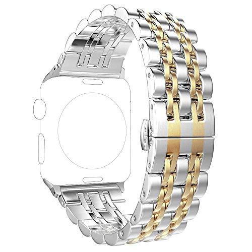 PUGO TOP Cinturino compatibile con Apple Watch, cinturino in acciaio inossidabile 316L con design classico a 7 lame e chiusura a farfalla per iWatch Serie 5 4 3 2 1, Oro, 42mm/44mm