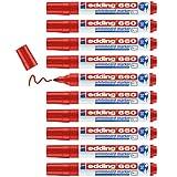 Edding 660 marcador para pizarras blancas - rojo - 10 rotuladores - punta redonda 1.5-3 mm - rotulador para pizarra blanca, borrado en seco - pizarra blanca, flipchart, tablón de notas - recargable