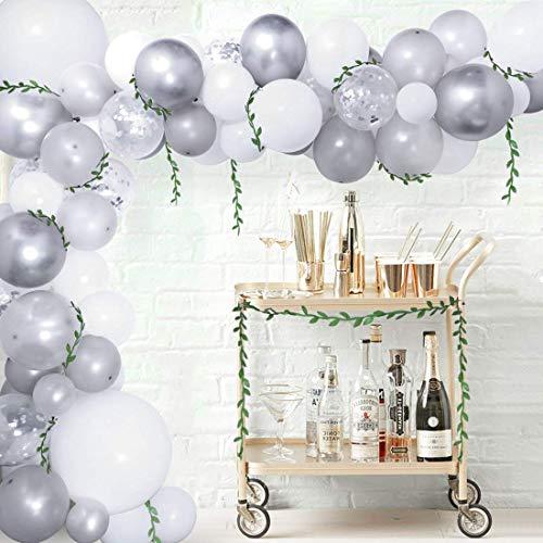 LQH 92pcs Silver White Balloon Garland Bogen for Geburtstags-Babyparty Hochzeitstag Dekorationen