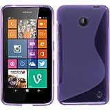 PhoneNatic Hülle für Nokia Lumia 630 Hülle Silikon lila S-Style Cover Lumia 630 Tasche + 2 Schutzfolien