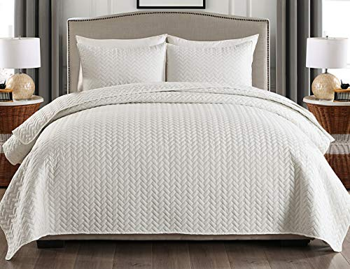 """JML Quilt King Size, 3 Piece Bedspread Coverlet with Shams - Soft Brushed Microfiber, Lightweight Hypoallergenic All-Season Quilt Set King 92"""" x 104"""""""