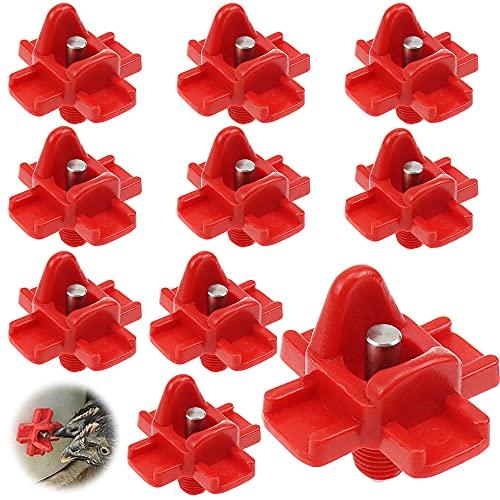 PLCatis 10 Piezas Bebedero Gallinas Bebederos para Aves de Corral Horizontal Alimentador Automático Gallinas Pezones de Agua para Gallina Patos Pavos Paloma - Rojo
