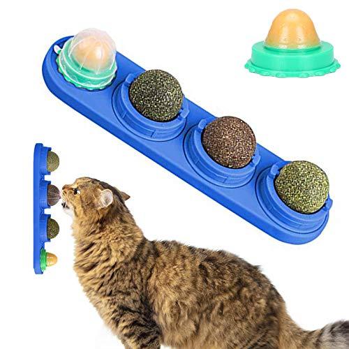 XPuing Katzenspielzeug, Katzenminze Spielzeug, Katzenleckspielzeug Molar Zahnen Snack Spielzeug, Selbstklebende Katzenminze Essbare Wand Ball, für Katzen Reinigung Zähne und Schutz des Magens (Blau)