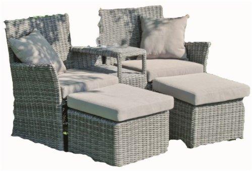 Garten Doppelsessel-Set + Hocker, inkl. Auflagen und Kissen, Poly-Rattan dunkelgrau