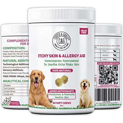 C&G Pets | Remedios para el picor | Hidrata y promueve la Piel y el Pelo Sano | Minerales y nutrientes Esenciales | Rico en Omegas DHA/EPA | Formulado por el Veterinario (Itchy Skin Aid Sup)