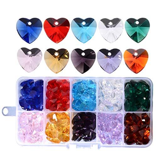 MILISTEN Amuletos de Cristal de Corazón Facetado Colgante de Cristal Transparente Mezclado para Pendientes Colgantes de Pulsera Joyería DIY Artesanía