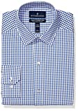 Amazon Brand - Buttoned Down Men's Tailored Fit Tech Stretch CoolMax Easy Care Dress Shirt, Navy Gingham, 17.5' Neck 34'-35' Sleeve