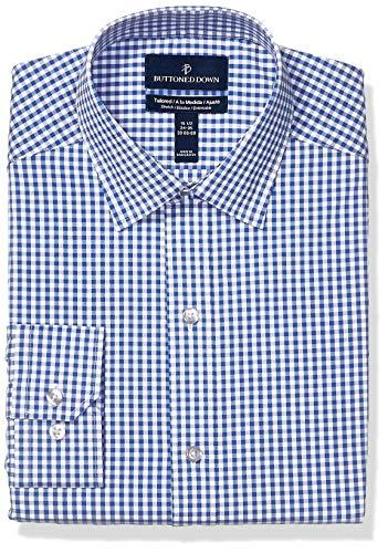 Buttoned Down Marca Amazon – Camisa de Vestir Coolmax de fácil Cuidado con Botones a Medida para Hombre, Tejido elástico, Color Azul Marino, 15 Pulgadas, Cuello 34 a 35...