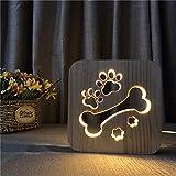 Huesos de Perro Patas de Madera luz de Noche decoración de Dormitorio para niños Blanco cálido Regalo de Fiesta de cumpleaños Muy Lindo para Amigos de niños