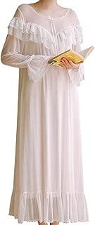 Women's Sexy Sheer Mesh Vintage Nightgown Victorian Modal Long Sleeve Sleepwear