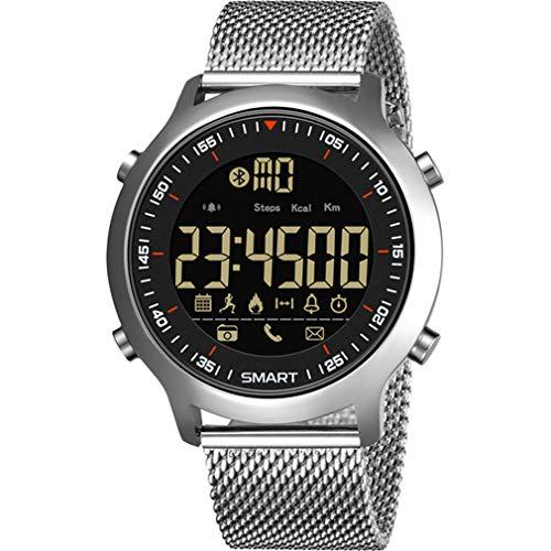 CCYOO Bluetooth Uhr Männlichen Smart Watch Run Schrittzähler Tauchen Outdoor Sports 50 Mt wasserdichte LED Digital Männer Armbanduhr IOS Android,Silver