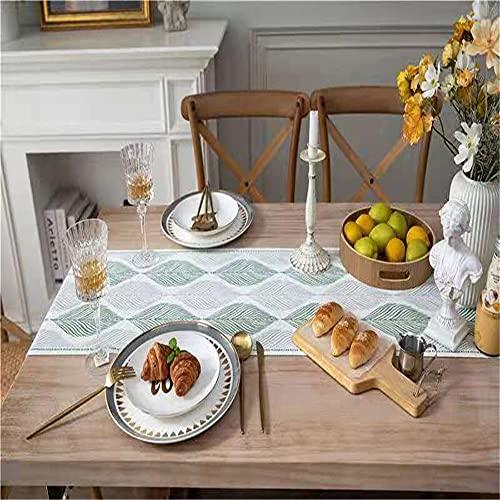 JDHANNE Camino de mesa tejido de algodón, lavable a mano, decoración de mesa con borlas para comedor, boda, banquete, vacaciones, fiestas al aire libre, verde 33 x 200 cm