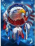 shuodade Pintura por Figuras Adultas DIY DIY Kit de Pintura al óleo DIY en Lienzo con Pinzas y Pigmento acrílico Eagle Bandera Americana 16x20 Pulgadas
