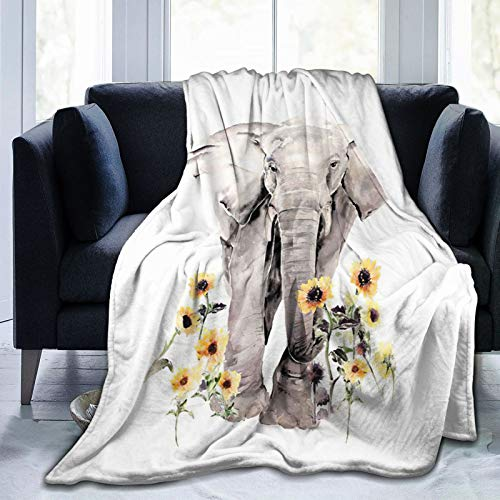 HANKCLES Sunflower Elephant Blanket Animal Bedding Throw Blanket Super Soft Cozy Fleece Plush Reversible Blanket Size for Baby Adults Couch Sofa 50x60 Inch