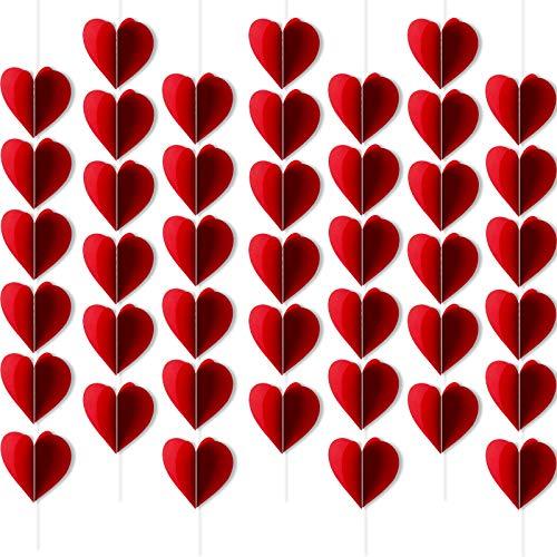 HOWAF Decoración de San Vatentín, Guirnalda de 3D Corazón Roja, Pancarta de corazón para San Valentín, Compromiso, Aniversario y Fiesta de Cumpleaños Boda Fondo De Foto
