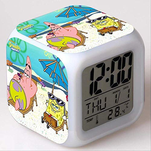 PMFS Spongebob Schwammkopf Kinder Wecker Farbwechsel Spielzeug Digital Led Reveil Wake Up Light Electronic7