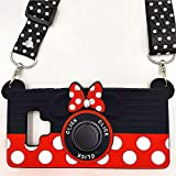 Galaxy Note 9 Case Cute Minnie Mouse 3D Camera with Rotating Ring Grip Holder Kickstand Lanyard Fit Magnetic Car Mount Teens Girls Women Soft Silicone Rubber Cover for Samsung Galaxy Note 9 (Note9)