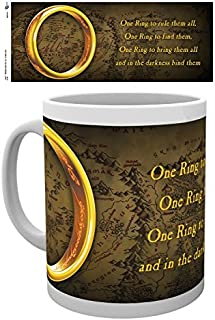 1art1 Set: The Lord of The Rings, One Ring to Rule Them All Photo Coffee Mug (4x3 inches) and 1x Surprise Sticker