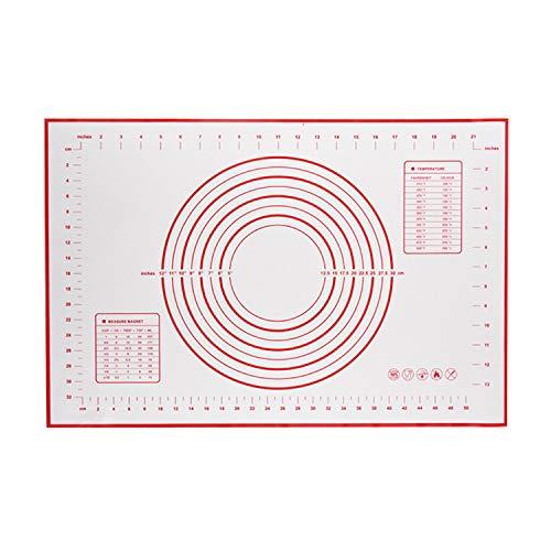 Mattarello regolabile in acciaio inossidabile da 17 pollici FairytaleMM con rullo per impastare con 4 anelli di spessore regolabili rimovibili (rosso (tipo 2))