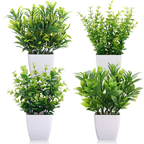 CEWOR 4 Packs Artificial Mini Potted Plants Fake Greenery Eucalyptus Plastic Pot...