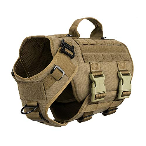 "ICEFANG Tactical Dog Operation Harness with 6X Buckle,Dog Molle Vest with Handle,3/4 Body Coverage,Hook and Loop Panel for ID Patch,No Pulling Front Clip (M (25""-31"" Girth), Coyote Brown)"