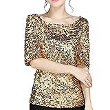 Luckycat La Mujer Casual Cuello Barco Mangas Medias Solid Lentejuelas OL Oficina tee Shirt Top Plus Size Mujer Lentejuela Brillante del Cordón Chaleco T Shirt Blusas Camisas Tops