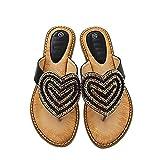 Summer Rhinestone Pearl Zapatos De Mujer Love Flip Flops Sandalias De Playa De Viaje Negro