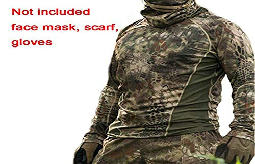 WorldShopping4U Kampf Schnelltrocknendes Langarm-T-Shirt für Airsoft Wandern Jagd Schießen Militär Paintball (BG,XL)