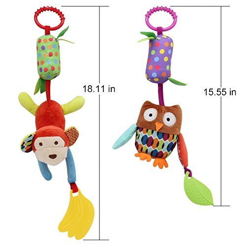 Image of Baby Toy Soft Hanging Rattle Crinkle Squeaky Learning Toy with Teethers Plush Animal C-Clip Ring Infant Newborn Stroller Car Seat Crib Travel Activity Wind Chimes Hanging Toys for Boys Girls, 4 Pack