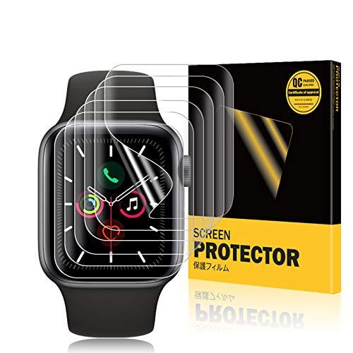 TOPACE 6 Stück Schutzfolie für Apple Watch Series 6/SE/5/4 44mm Folie, Kompatibel mit Hülle, Hochauflösende, Flexible Soft HD Blasenfreie Kratzfeste Anti-Fingerabdruck TPU Bildschirmschutzfolie