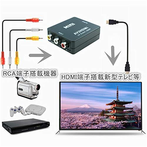 『RCA to HDMI変換コンバーター コンポジットをHDMIに変換アダプタ AV to HDMI 変換器 音声転送 720/1080P切り替え USB給電 ブラック』の1枚目の画像