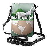 Día Mundial de la Vida Silvestre con El Animal en el Bosque Monedero pequeño para teléfono Celular de Moda Bolso de Hombro Multiusos Cartera