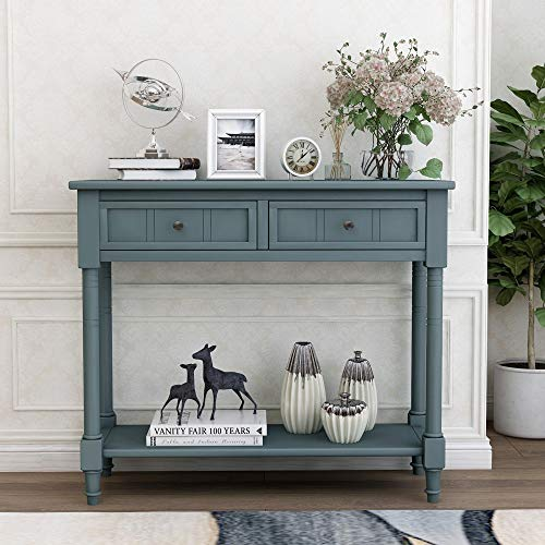 Carkoci Console Table Rustic Entryway Table with 2 Drawers and Bottle Shelf Retro Sofa Table Accent Solid Wood Entryway Hall Table for Living Room Bathroom Farmhouse Hallway(Navy)